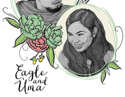 Eagle & Uma Bohemian Inspired Wedding Invitation
