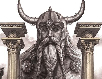 Distroya Spirit Label Illustration by Steven Noble