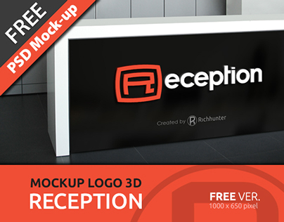 MOCKUP LOGO 3D IN RECEPTION_FOR FREE