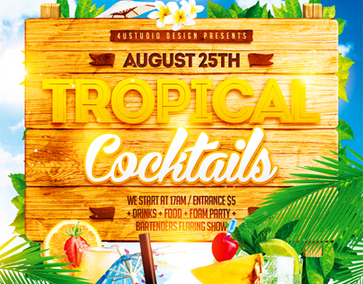 Tropical Cocktails Party Flyer, PSD Template