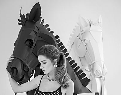 Paper chess horses