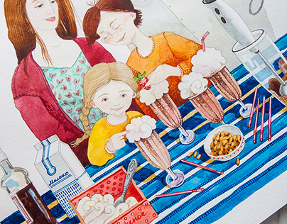 Watercolour Milkshake Illustration