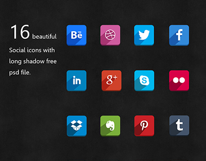 social icons with long shadow