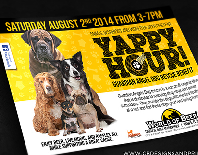 Yappy Hour | Dog Rescue Benefit Flyer Design