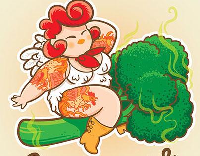 Chicken Broccoli magazine illustrations