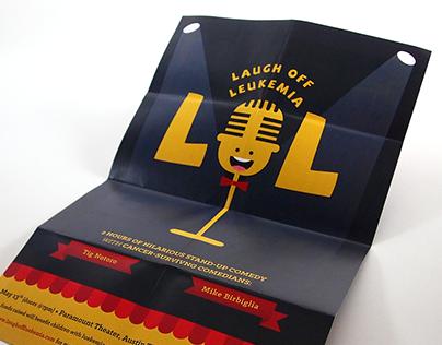 Laugh Off Leukemia comedy event self-mailer/poster