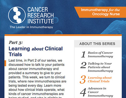 Oncology Email Newsletter
