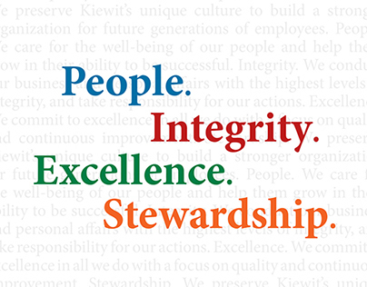 Kiewit Core Values Branding, 2011