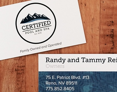 Certified Pool and Spa business cards
