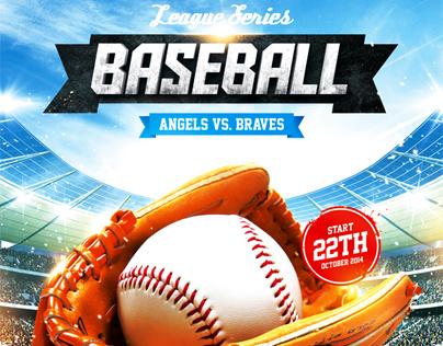 Baseball League Series Flyer, PSD Template