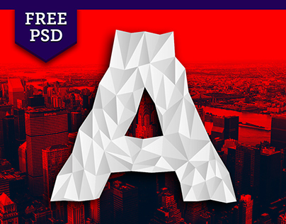 Low-Poly Font // Free HD PSD