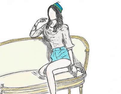 Drawing of Fashion Model