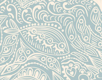 Im in love with fish, seamless pattern