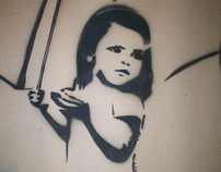 girl umbrella stencil