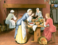 Interpretive historical storytelling kitchen painting