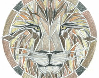 Stone Tile Inlay --Lion Floor Medallion