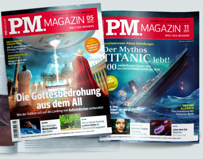 Illustrations for PM Magazine cover Mars, UFO, Titanic