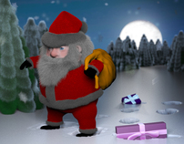 Christmas card background 3d design with Santa Claus