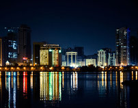 Sharjah Cityscape - Night Photography