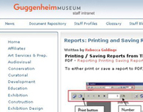 Guggenheim Staff Intranet Software Training Resources