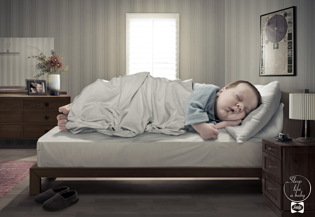 Sealy matress ad. Sleep like a baby.