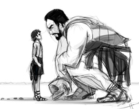 Illustration Sketch David and Goliath
