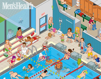 MENS HEALTH, Public Pool, Editorial Illustration