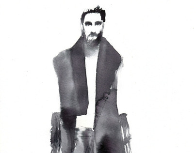 Black China Ink fashion illustrations