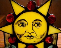 Medieval Sun Stained Glass Hand Painted Candle Holder
