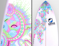 Illustration Surfboard Handmade