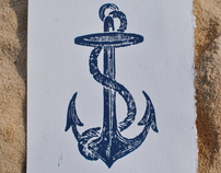 Anchor Woodcut