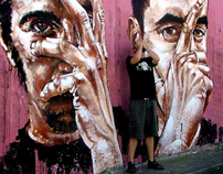 Giant portrait painted with paint roller - Rems182