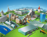 Illustrations for the website of «4 line» company