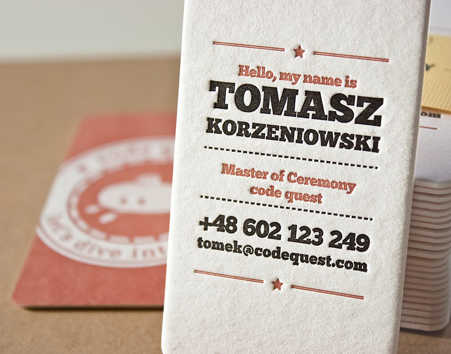 Letterpress Business Card for code quest