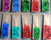 Hand painted coffee bags for Seven Coffee Roasters