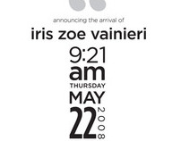 Iris Zoe Birth Announcement