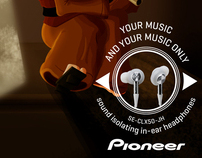 Pionner. Sound isolating in-ear headphones.