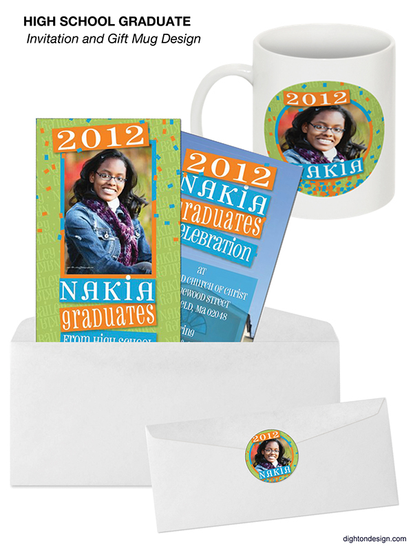 Graduation Invitation Design with Matching Gift Mug