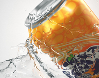 Fanta in splash water
