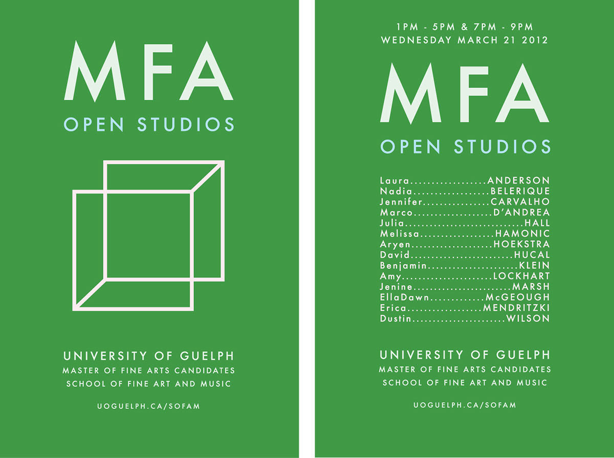 MFA Open Studios | University of Guelph | 2012