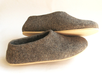 Ecological Cork Sole Felted Undyed Wool Shoes Slippers