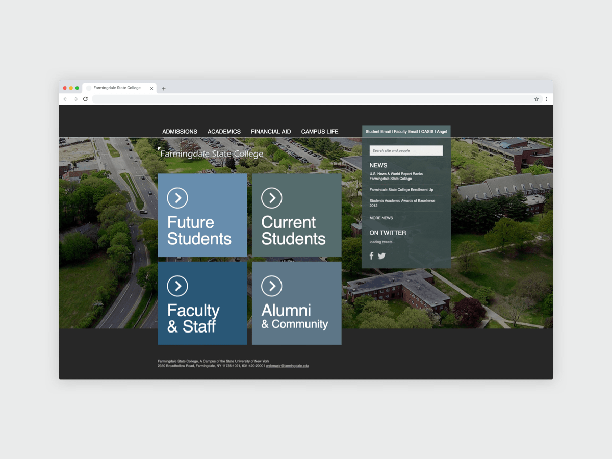 Farmingdale State College Homepage Redesign