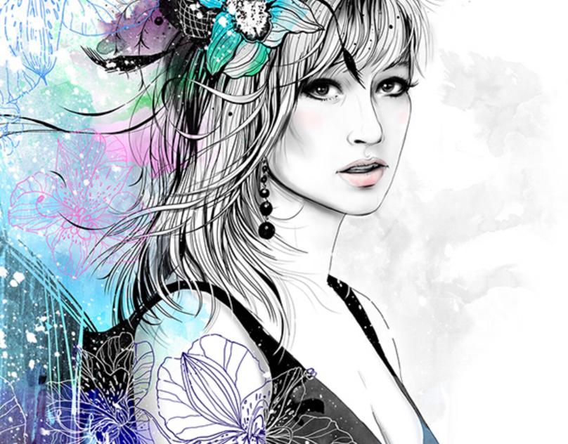 Portrait with Orchids
