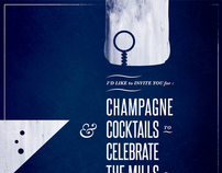 Champagne & Cocktails Birthday Invitation