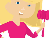 Girl With A Gavel // Auction Service Logo