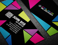 Color Blocked Business Card Design