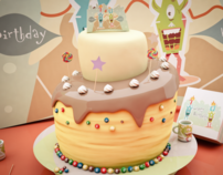 Cute Monster Cake 3D