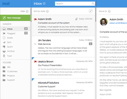 Mail App UI Web