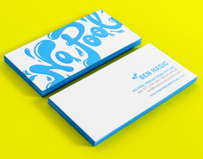 No Pool Productions letterpress business cards