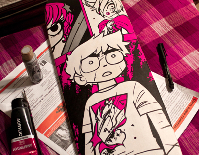Scott Pilgrim Skateboard - The crafted deck
